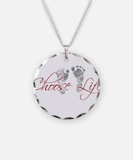 choos life.png Necklace Circle Charm