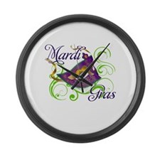 MardiGras.png Large Wall Clock