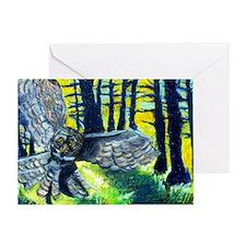 Owl In Flight Portrait Greeting Cards