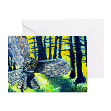 Owl In Flight Portrait Greeting Cards