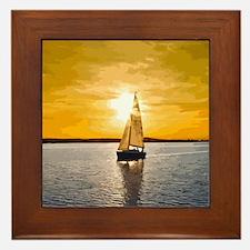 Sailing into the sunset Framed Tile