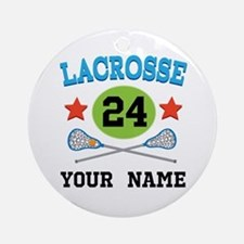Lacrosse Player Personalized Ornament (Round)