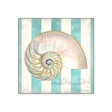 "Nautilus Shell Ocean Shells Square Sticker 3"" x 3"""