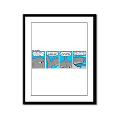 Shark and Remora Framed Panel Print