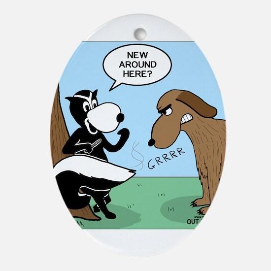 Dog Meets Skunk Ornament (Oval)