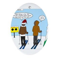 Idiot Skiers Ornament (Oval)