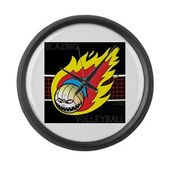 Blazing Volleyball Large Wall Clock