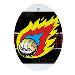 Blazing Volleyball Ornament (Oval)