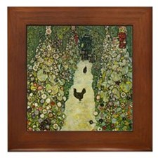Klimt Art Framed Tile Garden Path with Chickens