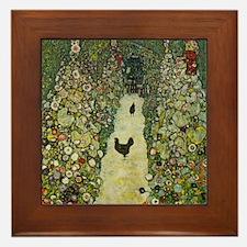 Klimt Art Framed Tile Garden Path with Chickens