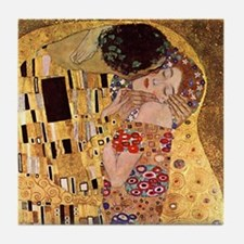Detail - The Kiss by Gustav Klimt Art Tile Coaster