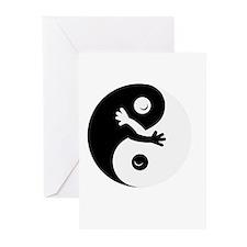 Hugging ying/yang Greeting Cards