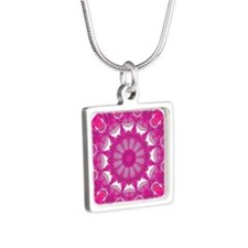 Rose Fire Wheel Mandala Silver Square Necklace