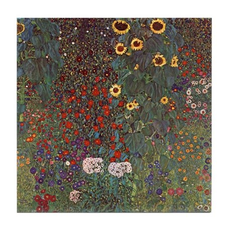 Gustav Klimt Art Tile Coaster Garden w/ Sunflowers