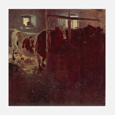 Gustav Klimt Art Tile Coaster Cows in the Stable