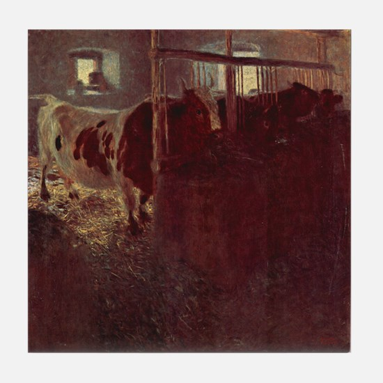 Gustav Klimt Art Tile Coaster Cows in the Stable