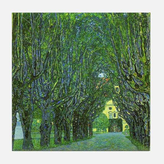 Gustav Klimt Art Tile Coaster Avenue in a Park