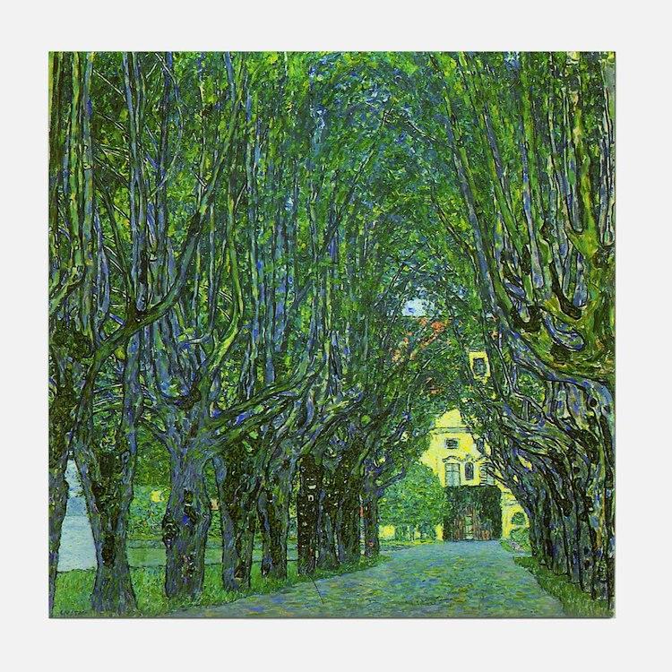 Gustav Klimt Art Tile Coaster Avenue in a Park