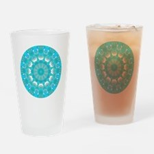 Teal Wheel of Fire Drinking Glass
