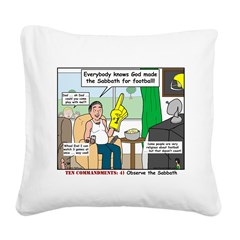 Sunday Football Square Canvas Pillow