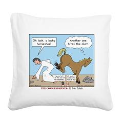 Unlucky Horseshoe Square Canvas Pillow