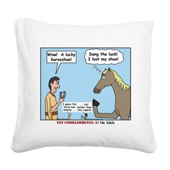 Lucky Horseshoe Square Canvas Pillow