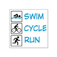 "TRIathlon Square Sticker 3"" x 3"""
