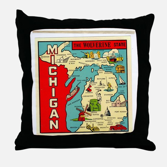 State of Michigan Throw Pillow