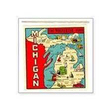 "State of Michigan Square Sticker 3"" x 3"""