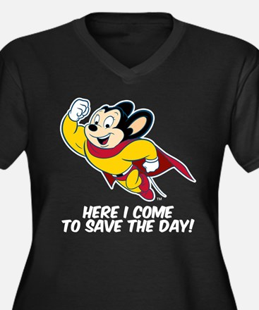 Mighty Mouse Here I Come Women's Plus Size V-Neck
