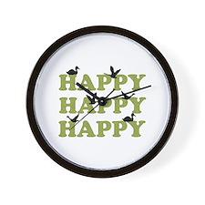 Green Digital Camo Happy Happy Happy Wall Clock