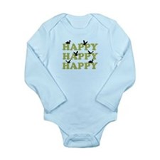Green Digital Camo Happy Happy Happy Long Sleeve I