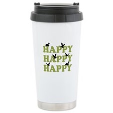 Green Digital Camo Happy Happy Happy Travel Mug