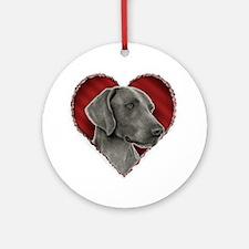 Weimeraner Valentine Ornament (Round)