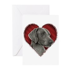 Weimeraner Valentine Greeting Cards (Pk of 10)