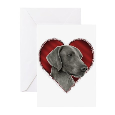 Weimeraner Valentine Greeting Cards (Pk of 10)