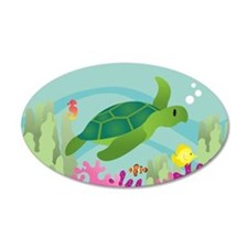 35X21 Mermaid Sea Turtle Scene Oval Wall Decal