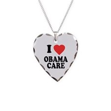 I Love Obamacare Necklace Heart Charm