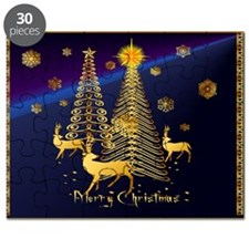 Gold Christmas Trees and Reindeer Puzzle
