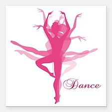 """Ballet Dancer Square Car Magnet 3"""" x 3"""""""