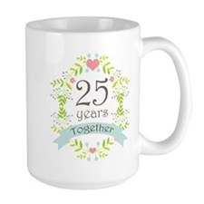 25th Anniversary flowers and hearts Mugs