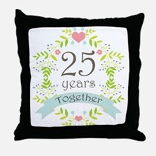 25th Anniversary flowers and hearts Throw Pillow