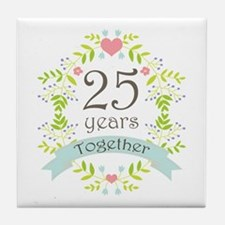 25th Anniversary flowers and hearts Tile Coaster