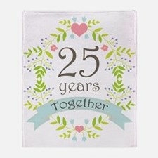 25th Anniversary flowers and hearts Throw Blanket