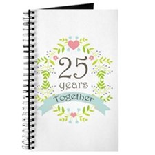 25th Anniversary flowers and hearts Journal