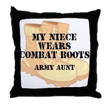 Army Aunt Niece Desert Combat Boots Throw Pillow