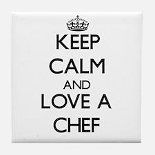 Keep Calm and Love a Chef Tile Coaster