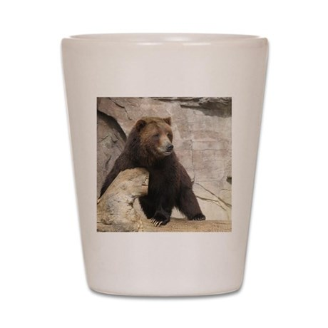 Big Black Bear with Long Claws Shot Glass