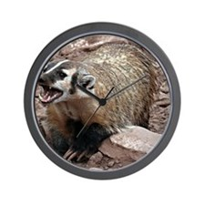 Snarling Fighting Badger Wall Clock
