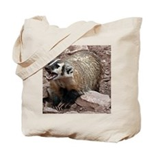 Snarling Fighting Badger Tote Bag
